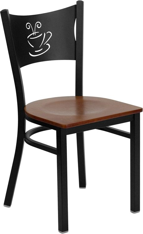 Coffee Back Metal Restaurant Chair - Cherry Wood Seat