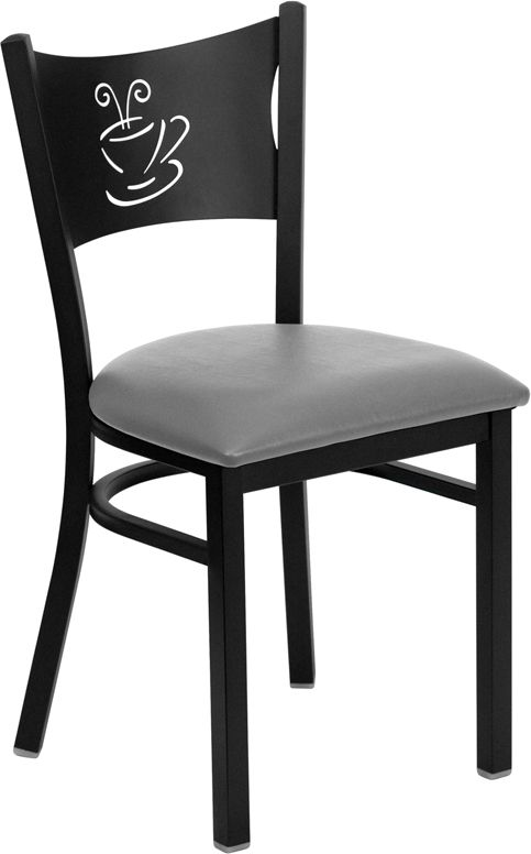 Coffee Back Metal Restaurant Chair - Custom Upholstered Seat
