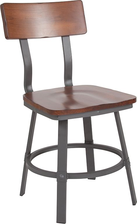 Restaurant Chair with Wood Seat & Back and Gray Powder Coat Frame