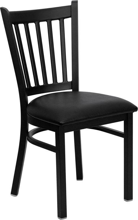 Back Metal Restaurant Chair - Black Vinyl Seat