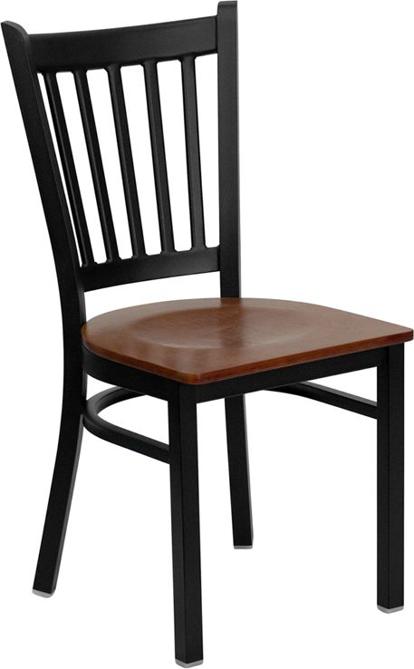 Vertical Back Metal Restaurant Chair - Cherry Wood Seat