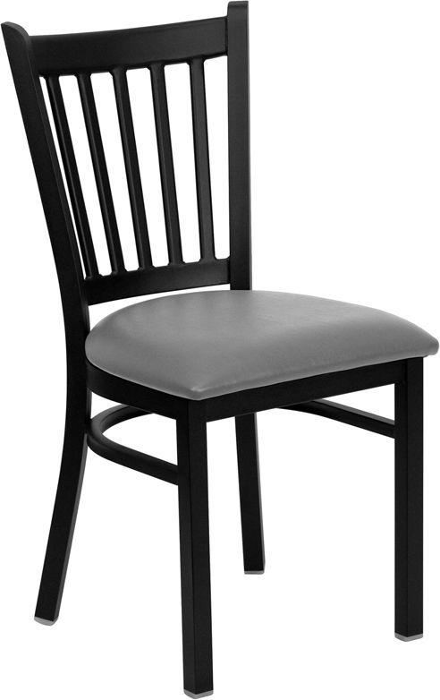 Vertical Back Metal Restaurant Chair - Custom Upholstered Seat