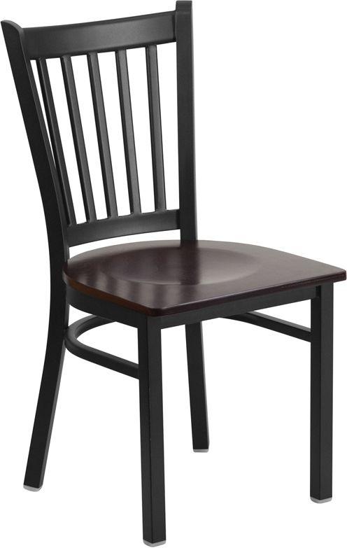 Black Vertical Back Metal Restaurant Chair - Walnut Wood Seat