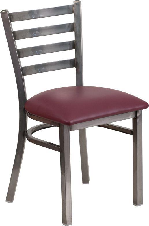Back Metal Restaurant Chair - Burgundy Vinyl Seat