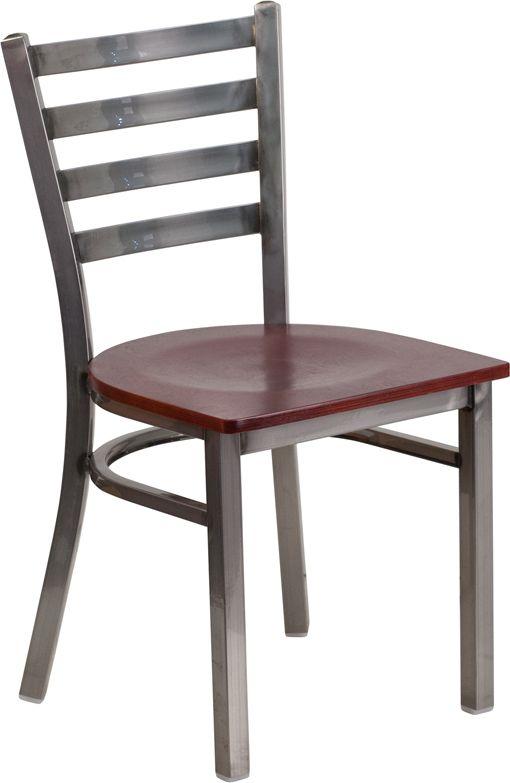 Back Metal Restaurant Chair - Mahogany Wood Seat