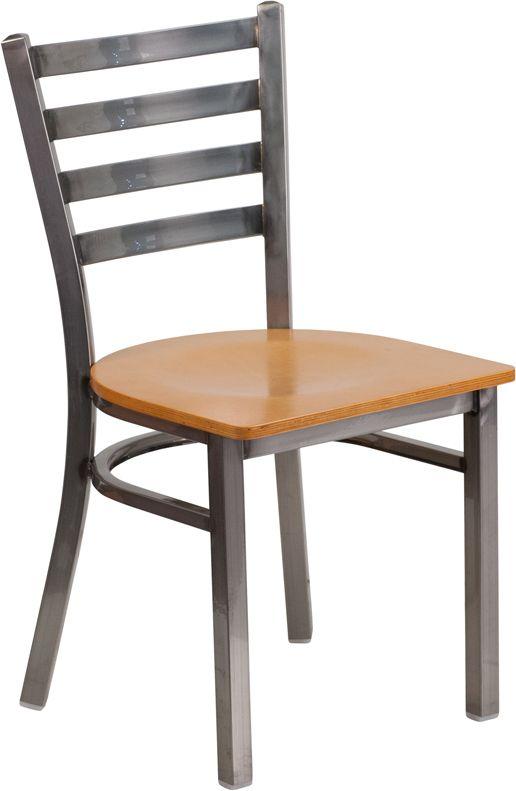Back Metal Restaurant Chair - Natural Wood Seat