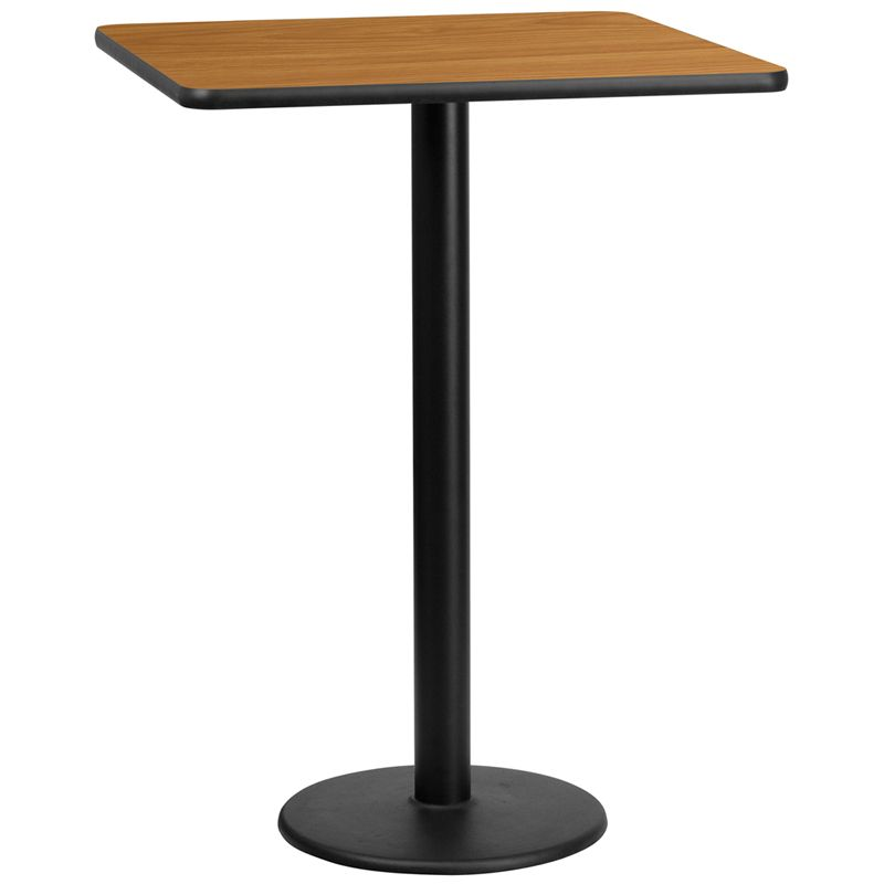 30'' Square Natural Laminate Table Top with 18'' Round Bar Height Table Base