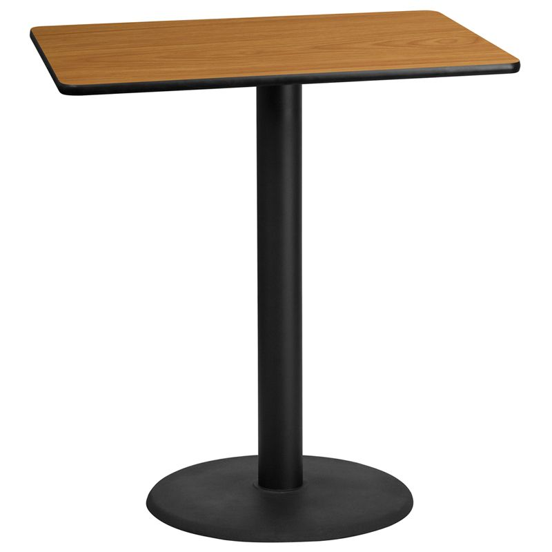 30'' x 42'' Rectangular Natural Laminate Table Top with 24'' Round Bar Height Table Base