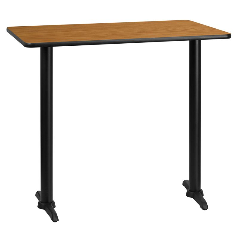 Rectangular Natural Laminate Table Top with 5'' x 22'' Bar Height Table Bases
