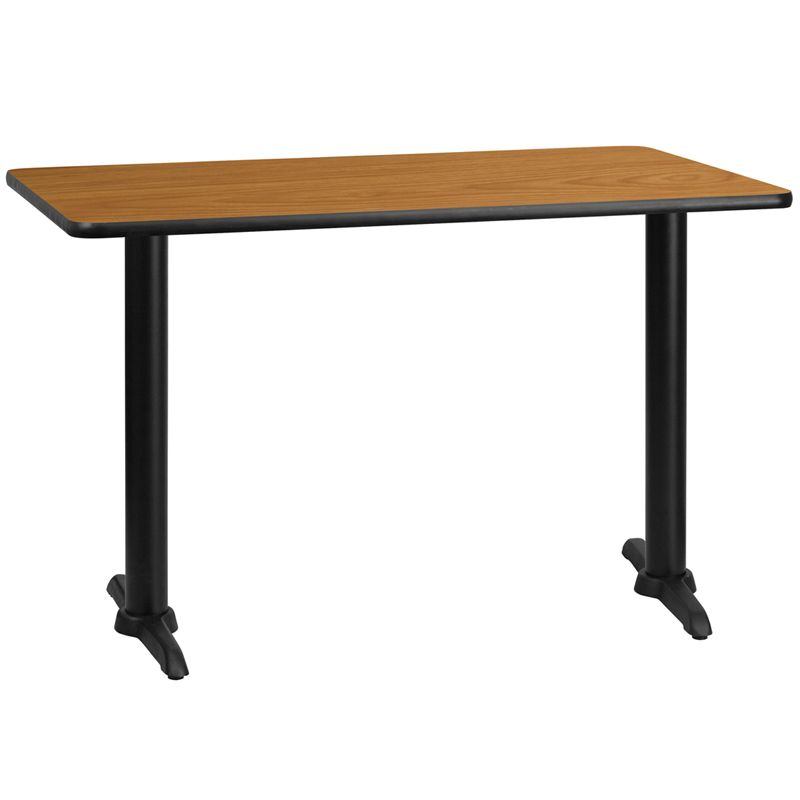 30'' x 48'' Rectangular Natural Laminate Table Top with 5'' x 22'' Table Height Bases