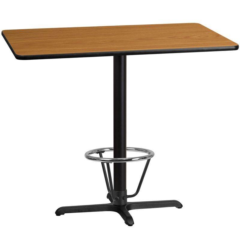 30'' x 48'' Rectangular Natural Laminate Table Top with 22'' x 30'' Bar Height Table Base and Foot Ring