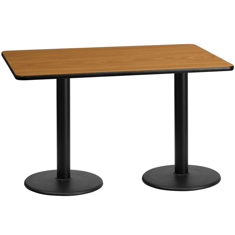 30'' x 60'' Rectangular Natural Laminate Table Top with 18'' Round Table Height Bases