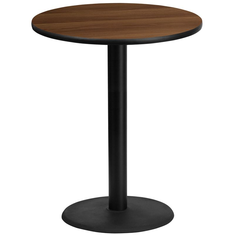 36'' Round Walnut Laminate Table Top with 24'' Round Bar Height Table Base