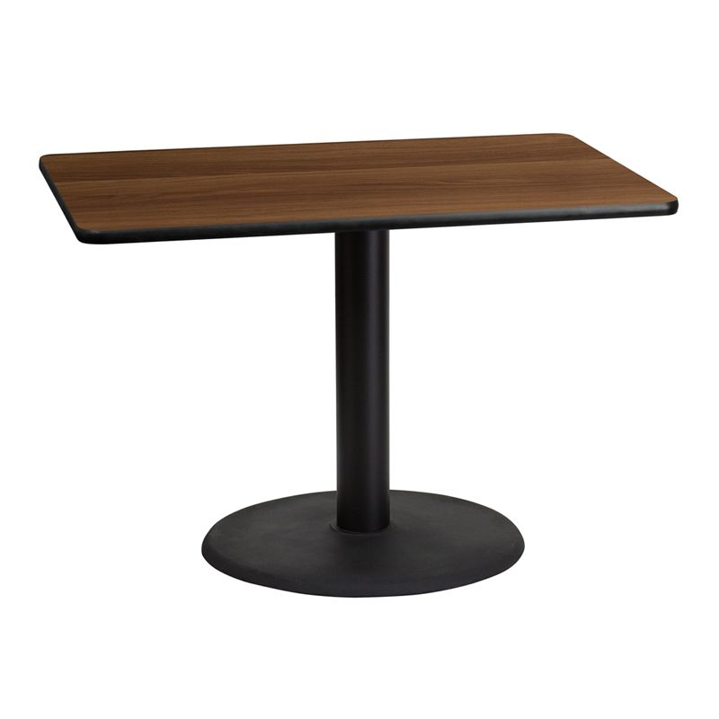 30'' x 42'' Rectangular Walnut Laminate Table Top with 24'' Round Table Height Base