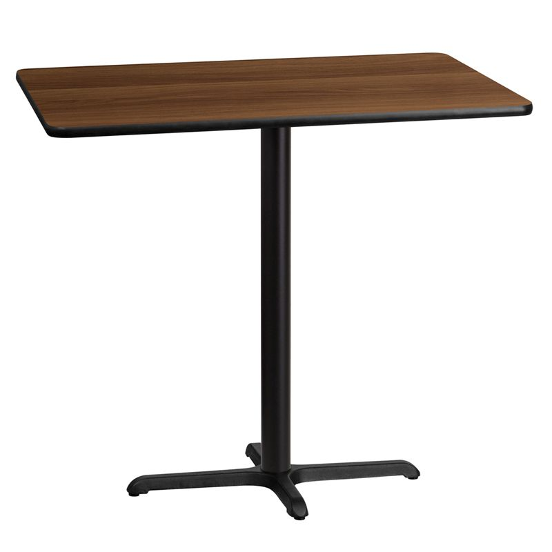 30'' x 45'' Rectangular Walnut Laminate Table Top with 22'' x 30'' Bar Height Table Base