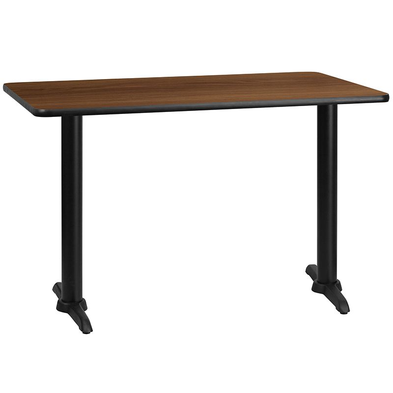 30'' x 48'' Rectangular Walnut Laminate Table Top with 5'' x 22'' Table Height Bases