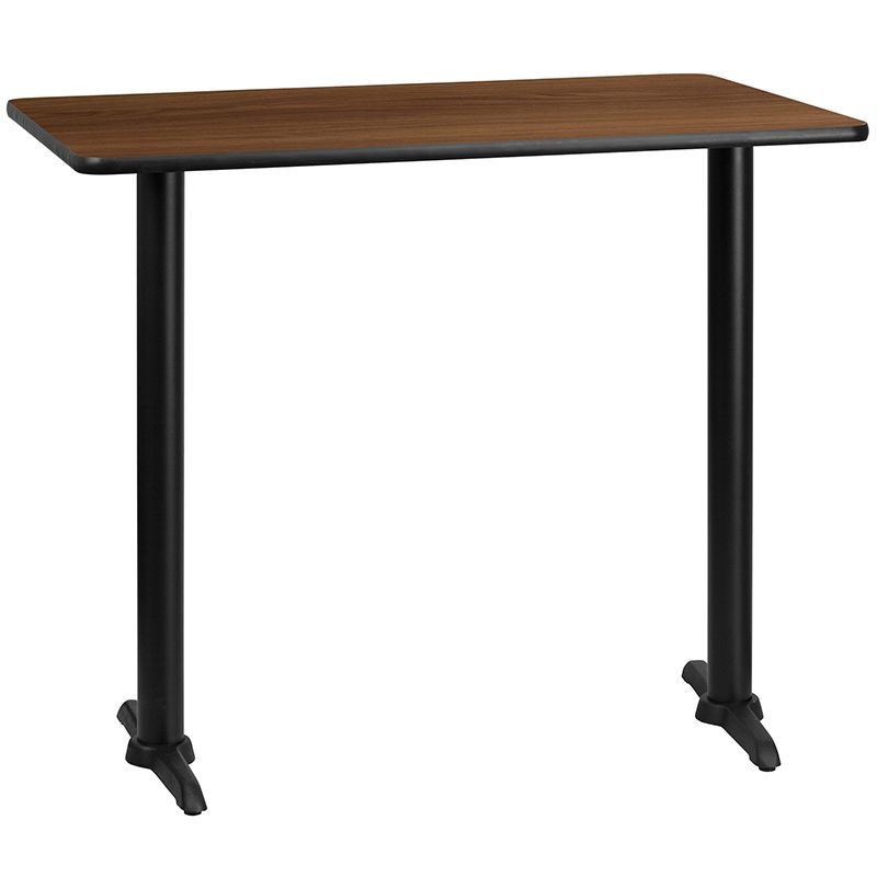 30'' x 48'' Rectangular Walnut Laminate Table Top with 5'' x 22'' Bar Height Table Bases