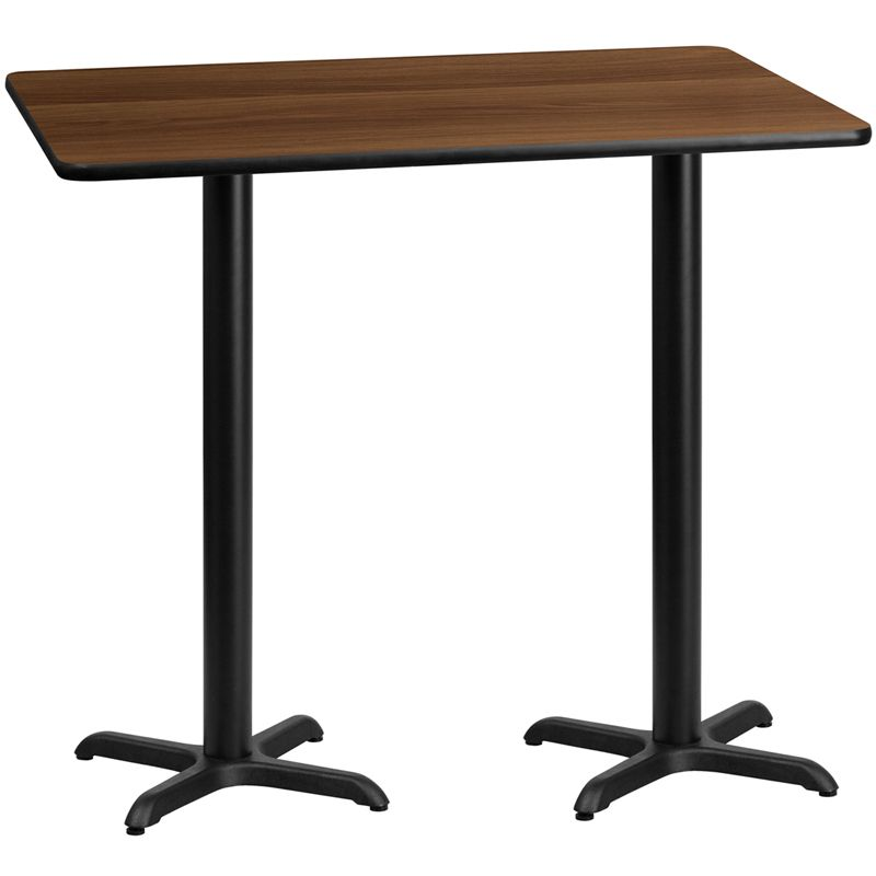30'' x 60'' Rectangular Walnut Laminate Table Top with 22'' x 22'' Bar Height Table Base