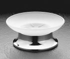 Frosted Glass Soap Dish - Frosted Glass & Polished Chrome Base